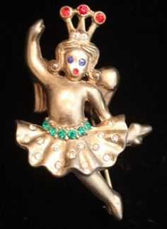 Vintage Crown Trifari Jeweled Angel Brooch