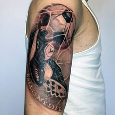 Goal With Shoes And Soccerball Mens Themed Half Sleeve Tattoos