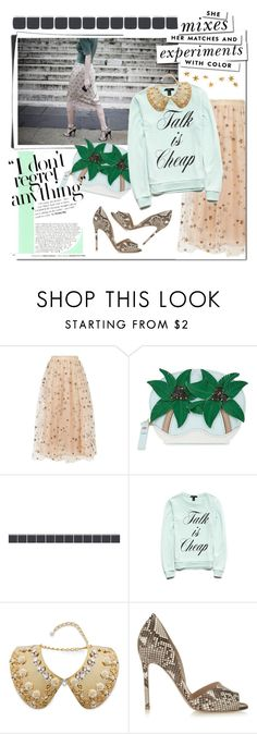 """""""Mint & tulle skirt"""" by cool-cute ❤ liked on Polyvore featuring Valentino, Kate Spade, Forever 21, Dolce&Gabbana, Gianvito Rossi, Livingly, StreetStyle, stylish, tulle and StreetChic"""