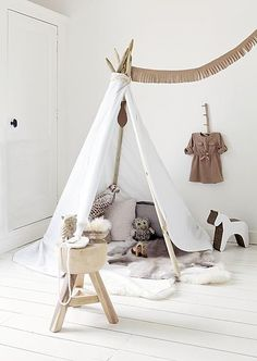 Indoor tipi tent for a childrens playroom or bedroom Diy Tent, Teepee Tent, Teepees, Diy Teepee, Teepee Kids, Toddler Teepee, Childrens Teepee, Toddler Bed, Kids Tents