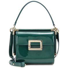 Roger Vivier Miss Viv' Carré Mini Patent Leather Shoulder Bag (13,045 CNY) ❤ liked on Polyvore featuring bags, handbags, shoulder bags, green, shoulder bag purse, shoulder bag handbag, green handbags, patent purse and roger vivier