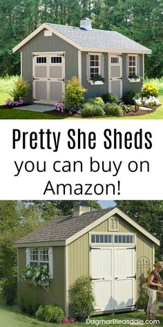 Do you dream of a she shed? Make that dream reality with an affordable she shed kit! This also makes an amazing gift! Do you dream of a she shed? Make that dream reality with an affordable she shed kit! This also makes an amazing gift! Shed Conversion Ideas, Le Hangar, Pergola, Backyard Sheds, Garden Sheds, Shed Landscaping, Backyard Storage Sheds, Outdoor Sheds, Backyard Patio