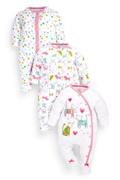 Buy Pink Cat Print Sleepsuits Three Pack (0mths-2yrs) from the Next UK online shop