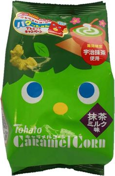 Tohato Green Tea Milk Caramel Corn $1.80 http://thingsfromjapan.net/tohato-green-tea-milk-caramel-corn/ #green tea caramel corn #Japanese snack