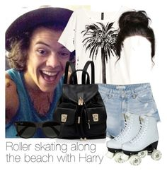 """""""Roller skating along the beach with Harry"""" by style-with-one-direction ❤ liked on Polyvore featuring мода, H&M, MANGO, Forever New, Ray-Ban, women's clothing, women, female, woman и misses"""