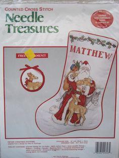 Cross Stitch Kit - Christmas Stocking - Father Christmas with FREE Ornament - Needle Treasures - NEW NIP