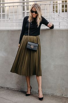 Blonde Woman Wearing Black Sweater Robert Rodriguez Green Pleated Midi Skirt Gucci Marmont Handbag Christian Louboutin Black Pumps Fashion Jackson Dallas Blogger Fashion Blogger Street Style