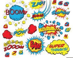 Superhero Text Digital Clipart, Comic Text Clipart, Superheroes Pop Art Text and… Superhero Costumes For Boys, Superhero Texts, Superhero Characters, Superhero Party, Comic Bubble, Bubble Art, Superhero Classroom Decorations, Superhero Clipart, Pop Art