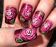 I have done this mani in several color combos, but never thought to add the leaves.