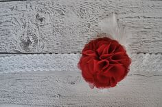 Large Red Ruffle Flower Elastic Headband for Babies and Girls