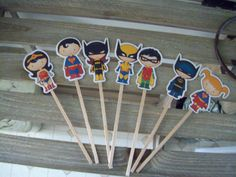 Superhero Cupcake Toppers Set of 28 by zbrown5 on Etsy, $12.90