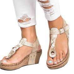 1e98710eb05 Peep Toe PU Blocking Hook-Loop Wedge Sandals Summer Heels