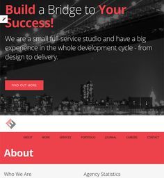 This single page WordPress theme includes parallax effects, Bootstrap integration, a responsive design, Font Awesome icons, unlimited colors, sidebars, and portfolios, Visual Composer, and more.