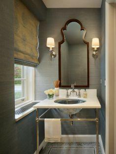 powder room mirror shape + grey grasscloth wallpaper + wall sconces #Mirror #PowderRoom #Inspiration