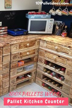 Storage-Friendly Pallet Sectional #Kitchen Counter - 101 Pallet Ideas