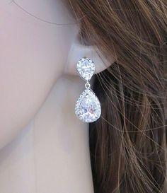 Bridal crystal earrings, Bridal teardrop earrings, Wedding earrings, Cubic zirconia earrings, Rhinestone earrings by TheExquisiteBride on Etsy Cubic Zirconia Earrings, Rhinestone Earrings, Teardrop Earrings, Crystal Earrings, Stud Earrings, Swarovski Jewelry, Bridesmaid Earrings, Wedding Earrings, Wedding Jewelry