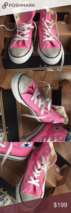 new product 95632 5dac8 Children s Converse high top Sneakers Designer handmade By Goo Baby Crystal  toes size girl 3 med all starhi star high tops new in box Converse Shoes ...