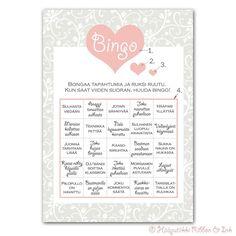 Hääpelit ja muut hääjuhlan aktiviteetit - Page 4 of 6 - Juhlaputiikki Bingo, Photo Booth, Dream Wedding, Wedding Things, Pastel, Bullet Journal, Personalized Items, Frame, Wedding Ideas