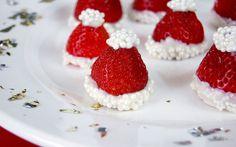 4 Fabulous & Easy Holiday Hacks | Shari's Berries Blog | No Bake White Chocolate Covered Strawberry Christmas Santa Hat Recipe
