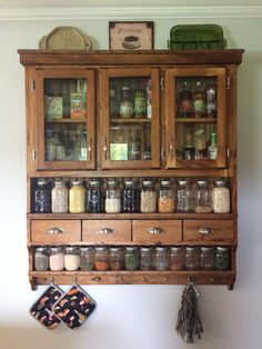 Custom Spice Pantry, Spice Rack, Collectors display with drawers. : Custom Spice Pantry, Spice Rack, Collectors display with drawers. Küchen Design, House Design, Design Ideas, Vintage Kitchen, Victorian Kitchen, Vintage Cabinet, Vintage Wood, Home Projects, Home Kitchens