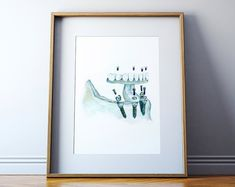 Pan X Ray Teeth Watercolor Art Print Dental Anatomy