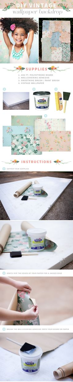 DIY Vintage Ripped Wallpaper Photography Backdrop Tutorial | www.ashlynmae.com/blog