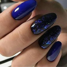 50 Stunning Designs For Almond Nails You Won't Resist Nail Idea 09 Gorgeous Nails, Love Nails, Pretty Nails, My Nails, Blue Shellac Nails, Coffin Nails, Acrylic Nails, Dark Blue Nails, Dark Gel Nails