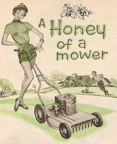 A Honey of a Mower! Detail from 1954 Worcester Lawnmower ad, art by Pete Hawley.