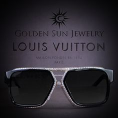 GOLDEN SUN JEWELRY: Louis Vuitton sunglasses done the Golden Sun Jewelry way for THE CHAMP, Floyd Mayweather Jr. of Russian Cut diamonds in the Rose frame. The cleanest and best glasses in the jewelry game. Louis Vuitton Glasses, Louis Vuitton Men Shoes, Lv Handbags, Louis Vuitton Handbags, Golden Sun, Michael Kors Outlet, Diamond Cuts, Rose Frame, Floyd Mayweather