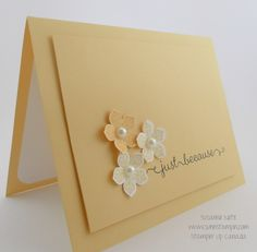 My very favorite shade of SU! yellow... so saffron. Makes a gorgeous card - would be a terrific notecard. Maybe add a monogram?