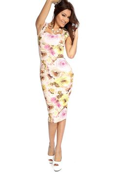 Floral print is back and here to stay! Featuring diamond cut necklace, padded bra cups, back zipper, sleeveless style, floral print, followed by a curve hugging fit. Pair this dress with your favorite wedges for the perfect look. 95% Polyester 5% Spandex Made in USA.