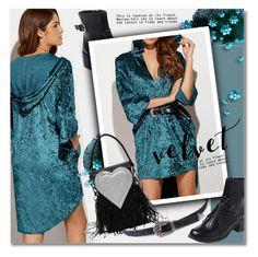 """""""Velvet Dress"""" by svijetlana ❤ liked on Polyvore featuring vintage, velvet, polyvoreeditorial and zaful"""