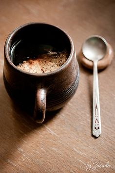 Coffee* cup, clay, spoons