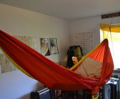Ok, guys, so I like hammocks. A lot. You should know this from my other instructable. For the last few years I've been sleeping in someone else's bed, which was cool, but I got kicked out and found myself sans bed. I've since been sleeping on my camping stuff in my own place. It's not so bad, it's a small room and a whole bed would take up way too much space anyway, the camping stuff I can fold out of the way futon-style. I like to imagine I'll have people hang out here sometime, and the…