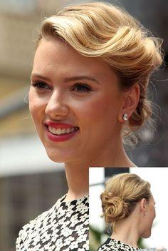 Le chignon rétro de Scarlett Johansson - http://www.lothmann.com/coiffures-de-soiree-speciales-saint-valentin-2015/