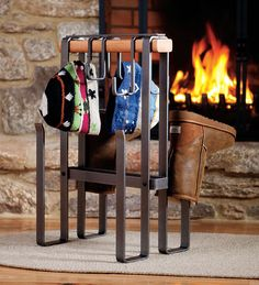 american-made-steel-and-cedar-hearth-drying-rack carried by Plow and Hearth american-made-steel-and- Indoor Firewood Rack, Firewood Storage, Boot Dryer, Ski Rack, Clothes Drying Racks, Cabin Interiors, Wood Accents, Cool House Designs, Hearth