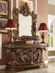 Classic Console Table in by Homey Design Furniture , finished by WoodDimensions: W69 x H35 x D88 Wood Entry Table, Entryway Tables, Console Table, Diy Furniture Appliques, Traditional Mirrors, Dresser With Mirror, Upholstered Chairs, Suede Handbags, Italian Furniture