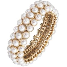 Anne Klein 3-Row Faux  Stretch Bracelet ($45) ❤ liked on Polyvore featuring jewelry, bracelets, pearl, artificial jewellery, pearl jewelry, artificial jewelry, fake pearl jewelry and stretch jewelry