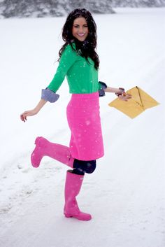 Hot pink skirt & bright green sweater with blue gingham button up (cuffs and collar.) Bold color block