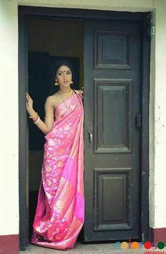 """Beautiful Indian Fashion, """" A Glimpse through our Collection for Mumbai Show Rosewood pink banarasi jaal """" via Bengali Saree, Bengali Bride, Indian Silk Sarees, Indian Beauty Saree, Indian Attire, Indian Wear, Indian Outfits, Indian Photoshoot, Sari"""