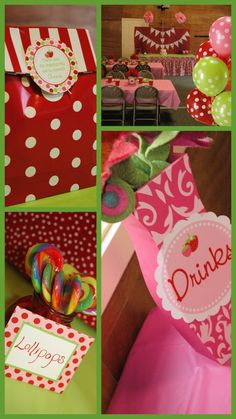 Strawberry shortcake themed table arch perfect for a gift table dessert table etc created by - Strawberry themed kitchen decor ...