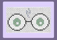 Free Pattern:  http://www.stitched-with-love.co.uk/free-patterns/harry-potter-glasses-cross-stitch-pattern-free