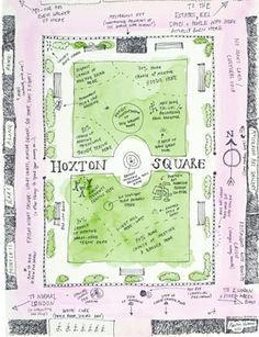 Hand drawn map of Hoxton Square