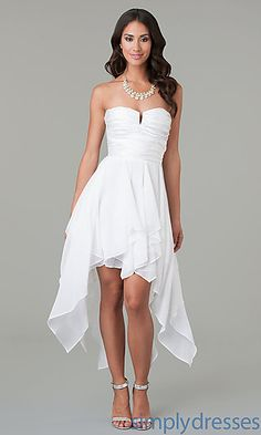High Low White Strapless Dress at SimplyDresses.com
