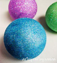 Styrofoam Balls Decorations Christmas Glitter Garland Styrofoam Balls Wrapped In Ribbon