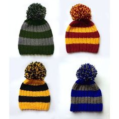 (110) Harry Potter hand-knitted hat These hats represent Hogwarts... ❤ liked on Polyvore featuring hats and gryffindor