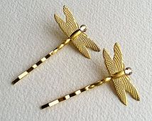 Dragonfly hair clip, gold dragonfly hairpin, rustic wedding, gold hair pin,bridal,wedding, gold hair accessories, fairy insect nature brass