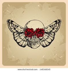 skull with flowers and a moth in a tattoo style  by Yagello Oleksandra, via ShutterStock