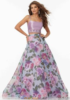 Shop Morilee's Two-Piece Prom Dress with Floral Printed Organza Skirt and Beaded Larissa Satin Top. Prom Dresses by Morilee designed by Madeline Gardner. Two-Piece Prom Dress with Floral Printed Organza Skirt and Beaded Larissa Satin Top. Designer Prom Dresses, Indian Designer Outfits, Prom Party Dresses, Pageant Dresses, Mom Dress, Dress Skirt, Mori Lee Prom, Wedding Dress Patterns, Strapless Dress Formal