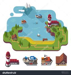Isometric 3d Near The Sea Landscape, Rural, Fishermen Village With The Lighthouse On The Hill. Different Boats, Barn Isolated. Flat Vector Stock Illustration With Isolated Element. - 363980357 : Shutterstock